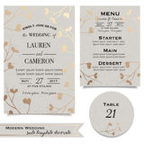 Vintage invitaion card. Wedding invitation in beige and golden shades Royalty Free Stock Images