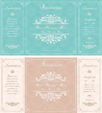 Vintage invitation card with abstract floral background Royalty Free Stock Images