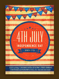 Vintage invitation card for American Independence Day. Royalty Free Stock Image