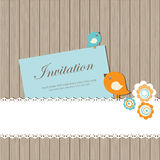 Vintage invitation card with birds Royalty Free Stock Images