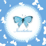 Vintage invitation card with blue butterfly Stock Photography