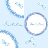 Vintage invitation card with blue butterfly Stock Photos