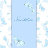 Vintage invitation card with blue butterfly Stock Images