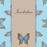 Vintage invitation card with blue butterfly Stock Photo