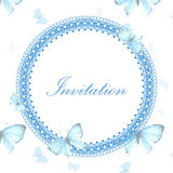 Vintage invitation card with blue butterfly Royalty Free Stock Image