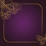 Vintage invitation card on dark purple background  Royalty Free Stock Images