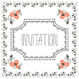 Vintage invitation card with frame and peach Royalty Free Stock Photo