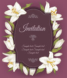 Vintage invitation card with a frame of white lilies Stock Photography