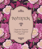 Vintage invitation card with hand drawn pink and white peonies, red lilies, can be used for baby shower, wedding, birthday and oth. Er holidays. Vector Royalty Free Stock Photo