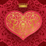 Vintage invitation card with heart and floral motifs. Red Victorian background. Cover design for greeting and wedding card Royalty Free Stock Images