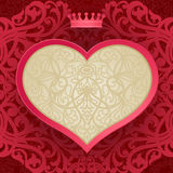 Vintage invitation card with heart and floral motifs. Red Victorian background. Template frame design for greeting and wedding card. You can place your text in Stock Photography