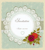 Vintage invitation card. With lace napkin and flower in retro style. Vector illustration stock illustration