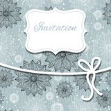 Vintage invitation card  with lace ornament Stock Images
