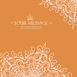 Vintage invitation card with lace ornament. Stock Photo