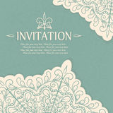 Vintage invitation card with lace ornament. Stock Image