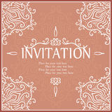 Vintage invitation card with lace ornament. Royalty Free Stock Images