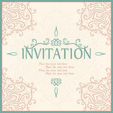 Vintage invitation card with lace ornament. Royalty Free Stock Photography