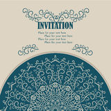 Vintage invitation card with lace ornament. vector illustration
