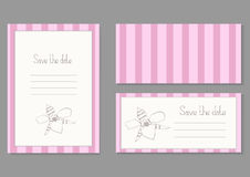 Vintage invitation card with orchid. Vintage invitation card with pink strips, frame, orchid and inscription save the date Stock Photo
