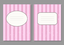 Vintage invitation card with pink strips. Frame and crack texture Stock Photo
