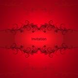 Vintage invitation card on red background. Stock Image