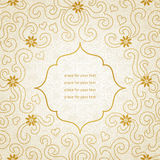 Vintage invitation card with small flowers and curls. Template frame design for greeting and wedding card. You can place your text in the empty place Royalty Free Stock Photos