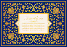 Vintage invitation card template. With floral background Stock Photo