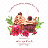 Vintage invitation card watercolor cupcakes and Stock Images