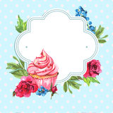 Vintage invitation card watercolor cupcakes and Stock Image