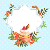 Vintage invitation card watercolor cupcakes and Royalty Free Stock Photos