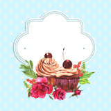 Vintage invitation card watercolor cupcakes and Stock Photos