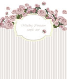 Vintage Invitation Card with Watercolor Flowers Background Stock Photography