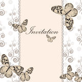 Vintage invitation card with white butterfly Stock Photography