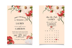 Vintage invitation cards with beige wallpaper and watercolor print Stock Photos