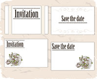 Vintage invitation cards set. Stock Photography