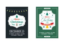 Vintage invitation for a Christmas party. Stock Photography