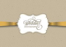 Vintage invitation design with gold ribbon. Vintage wedding invitation design with gold ribbon Royalty Free Stock Images