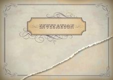Vintage invitation design with label, text and fra Royalty Free Stock Images