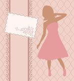 Vintage invitation with girl, sketch style Stock Photo