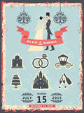 Vintage invitation with groom, bride and wedding icons Royalty Free Stock Photos