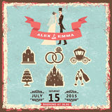 Vintage invitation with groom, bride and wedding items Stock Photography