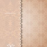 Vintage invitation with a lace background. Royalty Free Stock Photos