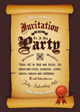 Vintage Invitation On Parchment Royalty Free Stock Photography