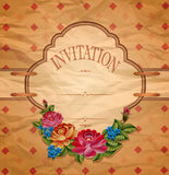 Vintage invitation with roses on crumpled paper Royalty Free Stock Photography