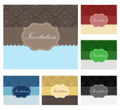 Vintage invitation set in different color combinat Royalty Free Stock Image
