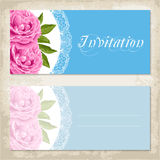 Vintage invitation template with peony Stock Images