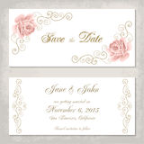 Vintage invitation template with roses Royalty Free Stock Photography