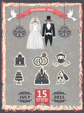 Vintage invitation with wedding clothes and icons. Vector Design wedding invitation with wedding clothes,chandelier and icons.Shabby vintage background. Vector royalty free illustration