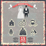 Vintage invitation with wedding clothes and wedding icons Stock Photography