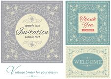 Vintage invitations and frames Stock Photography